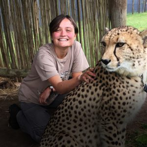 Sarah Keirle with a cheetah
